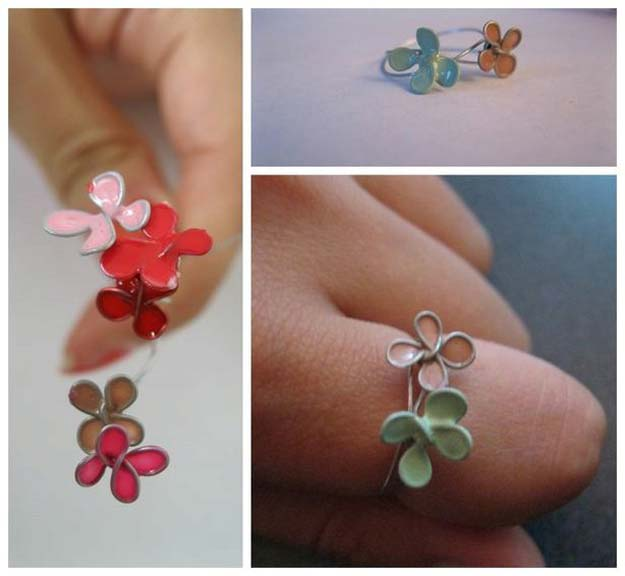 "DIY Crafts Using Nail Polish - ""Stained Glass"" Flower Ring - Fun, Cool, Easy and Cheap Craft Ideas for Girls, Teens, Tweens and Adults 