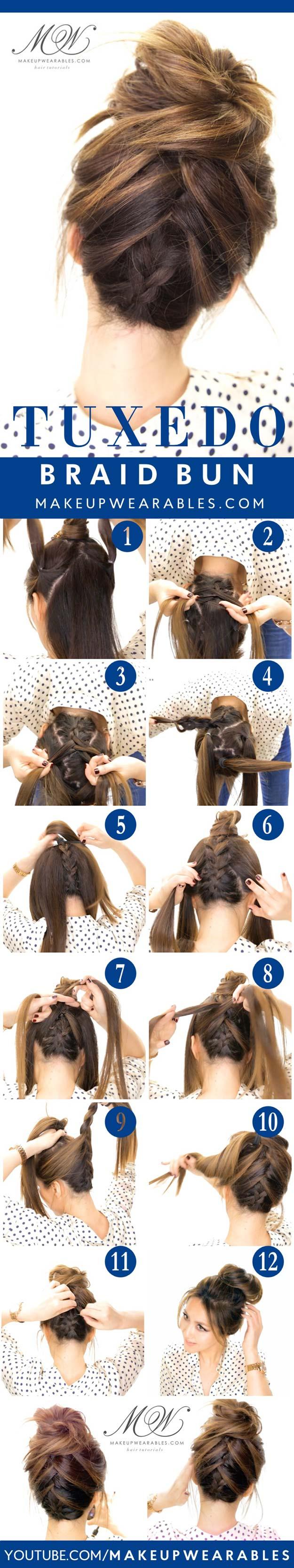 Best Hair Braiding Tutorials - Tuxedo Braid Messy Bun - Easy Step by Step Tutorials for Braids - How To Braid Fishtail, French Braids, Flower Crown, Side Braids, Cornrows, Updos - Cool Braided Hairstyles for Girls, Teens and Women - School, Day and Evening, Boho, Casual and Formal Looks #hairstyles #braiding #braidingtutorials #diyhair