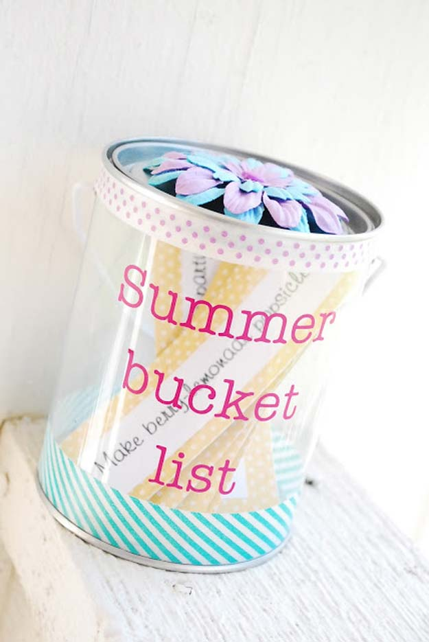 Washi Tape Crafts - Summer Bucketlist - DIY Projects Made With Washi Tape - Wall Art, Frames, Cards, Pencils, Room Decor and DIY Gifts, Back To School Supplies - Creative, Fun Craft Ideas for Teens, Tweens and Teenagers - Step by Step Tutorials and Instructions http://diyprojectsforteens.com/washi-tape-ideas