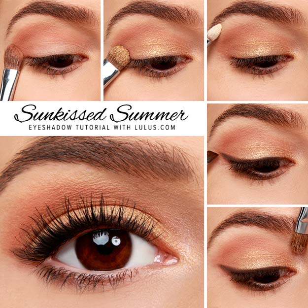 Best Eyeshadow Tutorials - Sunkissed Summer Gold Eyeshadow Tutorial - Easy Step by Step How To For Eye Shadow - Cool Makeup Tricks and Eye Makeup Tutorial With Instructions - Quick Ways to Do Smoky Eye, Natural Makeup, Looks for Day and Evening, Brown and Blue Eyes - Cool Ideas for Beginners and Teens http://diyprojectsforteens.com/best-eyeshadow-tutorials