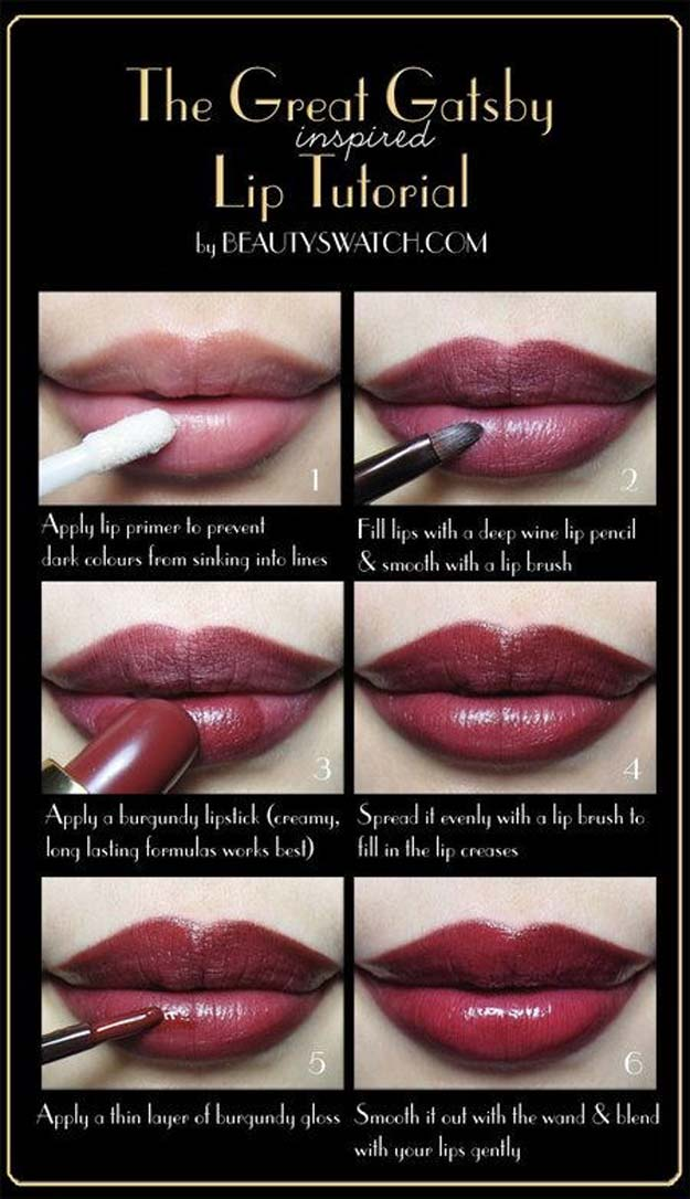 Lipstick Tutorials - Best Step by Step Makeup Tutorial How To - The Great Gatsby Inspired - Easy and Quick Ways to Apply Lipstick and Awesome Beauty Ideas - Cool Ideas for Teen Makeup for School, Party and Special Occasion - Makeup Tutorials for Beginners - Lip Liner Tips and Tricks to Add Volume, DIY Lip Techniques for Fuller Lips - DIY Projects and Crafts for Teens