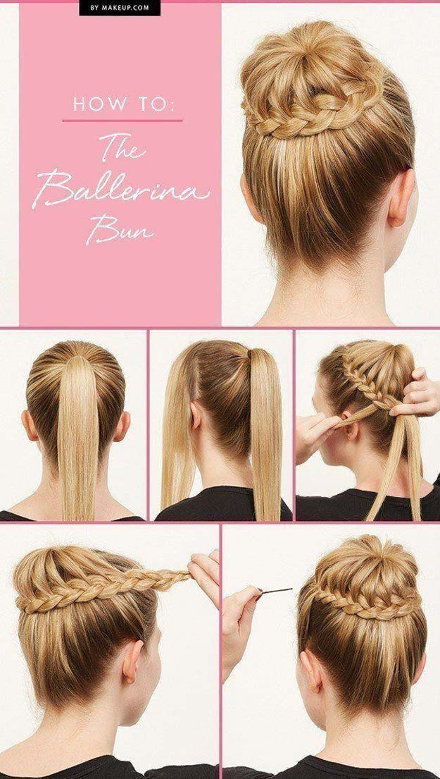 Best Hair Braiding Tutorials - How To: The Ballerina Bun - Easy Step by Step Tutorials for Braids - How To Braid Fishtail, French Braids, Flower Crown, Side Braids, Cornrows, Updos - Cool Braided Hairstyles for Girls, Teens and Women - School, Day and Evening, Boho, Casual and Formal Looks #hairstyles #braiding #braidingtutorials #diyhair