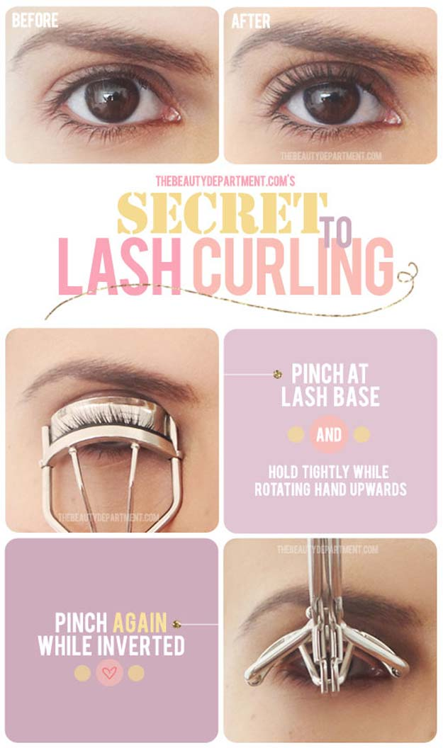 Best Beauty Hacks - he Secret to Lush Curling - Easy Makeup Tutorials and Makeup Ideas for Teens, Beginners, Women, Teenagers - Cool Tips and Tricks for Mascara, Lipstick, Foundation, Hair, Blush, Eyeshadow, Eyebrows and Eyes - Step by Step Tutorials and How To http://diyprojectsforteens.com/best-beauty-hacks