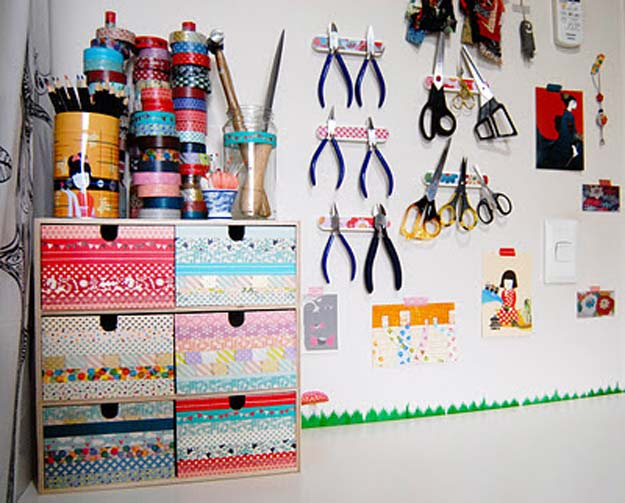 Washi Tape Crafts - Tour of the New-Look Studio Corner - DIY Projects Made With Washi Tape - Wall Art, Frames, Cards, Pencils, Room Decor and DIY Gifts, Back To School Supplies - Creative, Fun Craft Ideas for Teens, Tweens and Teenagers - Step by Step Tutorials and Instructions http://diyprojectsforteens.com/washi-tape-ideas