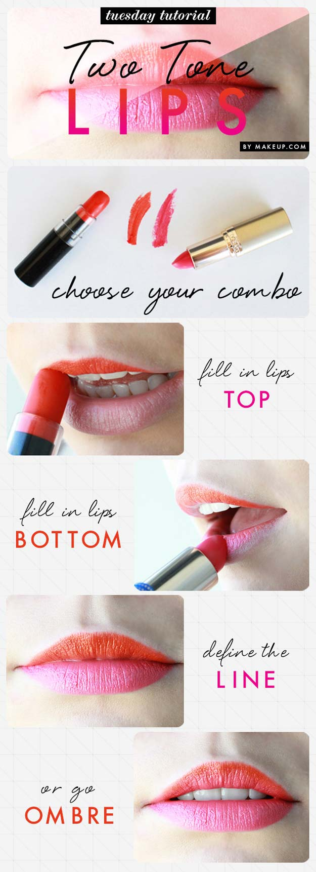 Best Makeup Tutorials for Teens -Two-Tone Lips - Easy Makeup Ideas for Beginners - Step by Step Tutorials for Foundation, Eye Shadow, Lipstick, Cheeks, Contour, Eyebrows and Eyes - Awesome Makeup Hacks and Tips for Simple DIY Beauty - Day and Evening Looks http://diyprojectsforteens.com/makeup-tutorials-teens
