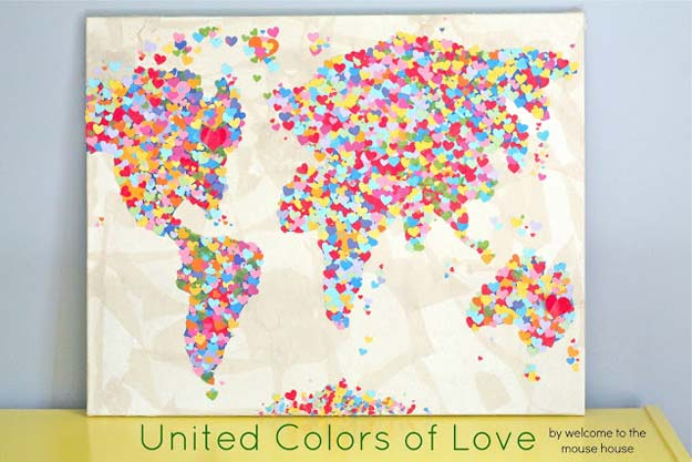 Cool DIY Room Decor Ideas in Red - United Colors of Love World Map - Creative Home Decor, Wall Art and Bedroom Crafts to Accent Your Red Room - Creative Craft Projects and Quick Arts and Crafts Ideas for Teens and Adults - Easy Ways To Decorate on A Budget http://diyprojectsforteens.com/diy-room-decor-red
