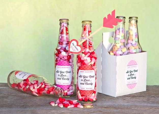DIY Valentine Gifts - Valentine Candy Bottles & DIY Heart Arrows - Gifts for Her and Him, Teens, Teenagers and Tweens - Mason Jar Ideas, Homemade Cards, Cheap and Easy Gift Ideas for Valentine Presents http://diyprojectsforteens.com/diy-valentine-gifts