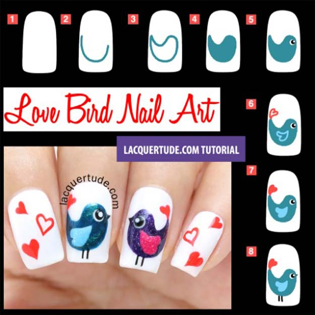 Valentine Nail Art Ideas - Valentine's Day Love Birds Nail Art - Cute and Cool Looks For Valentines Day Nails - Hearts, Gradients, Red, Black and Pink Designs - Easy Ideas for DIY Manicures with Step by Step Tutorials - Fun Ideas for Teens, Teenagers and Women http://diyprojectsforteens.com/valentine-nail-art-ideas