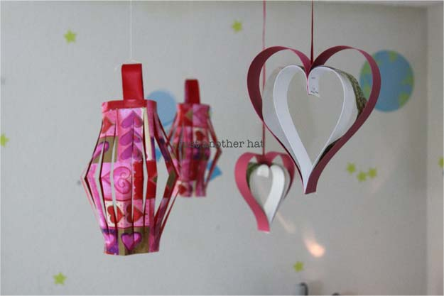 Cool Things to Make With Leftover Wrapping Paper - Valentine Hanging Lantern & Heart- Easy Crafts, Fun DIY Projects, Gifts and DIY Home Decor Ideas - Don't Trash The Christmas Wrapping Paper and Learn How To Make These Awesome Ideas Instead - Creative Craft Ideas for Teens, Tweens, Teenagers, Boys and Girls http://diyprojectsforteens.com/diy-projects-wrapping-paper