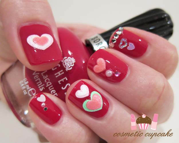 Valentine Nail Art Ideas - Valentines Day Manicure - Cute and Cool Looks For Valentines Day Nails - Hearts, Gradients, Red, Black and Pink Designs - Easy Ideas for DIY Manicures with Step by Step Tutorials - Fun Ideas for Teens, Teenagers and Women http://diyprojectsforteens.com/valentine-nail-art-ideas