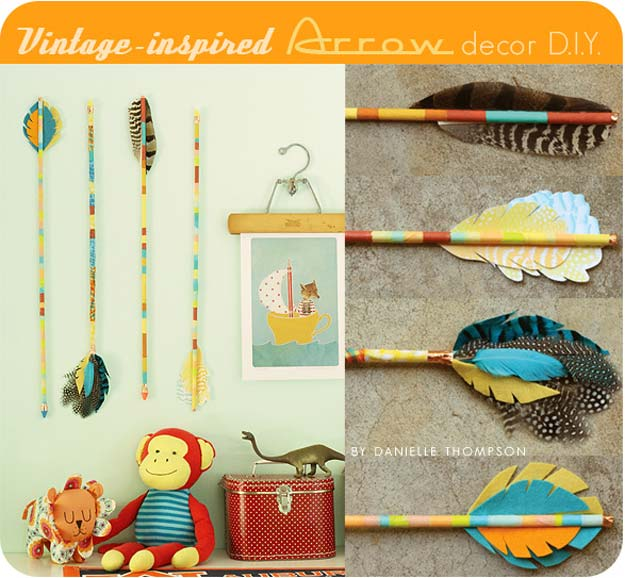 Washi Tape Crafts - Vintage-Inspired Arrow Decor D.I.Y. - DIY Projects Made With Washi Tape - Wall Art, Frames, Cards, Pencils, Room Decor and DIY Gifts, Back To School Supplies - Creative, Fun Craft Ideas for Teens, Tweens and Teenagers - Step by Step Tutorials and Instructions
