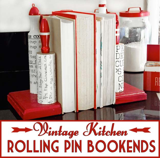 Cool DIY Room Decor Ideas in Red - Vintage Kitchen Rolling Pin Bookends - Creative Home Decor, Wall Art and Bedroom Crafts to Accent Your Red Room - Creative Craft Projects and Quick Arts and Crafts Ideas for Teens and Adults - Easy Ways To Decorate on A Budget http://diyprojectsforteens.com/diy-room-decor-red