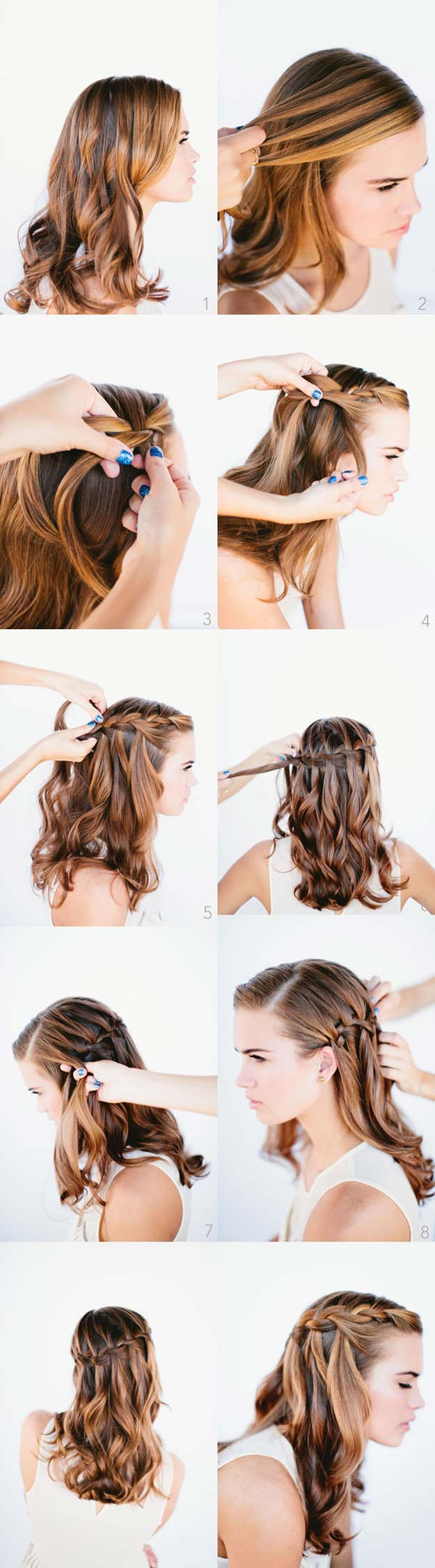 Best Hair Braiding Tutorials - Waterfall Braid Wedding Hairstyles For Long Hair - Easy Step by Step Tutorials for Braids - How To Braid Fishtail, French Braids, Flower Crown, Side Braids, Cornrows, Updos - Cool Braided Hairstyles for Girls, Teens and Women - School, Day and Evening, Boho, Casual and Formal Looks #hairstyles #braiding #braidingtutorials #diyhair