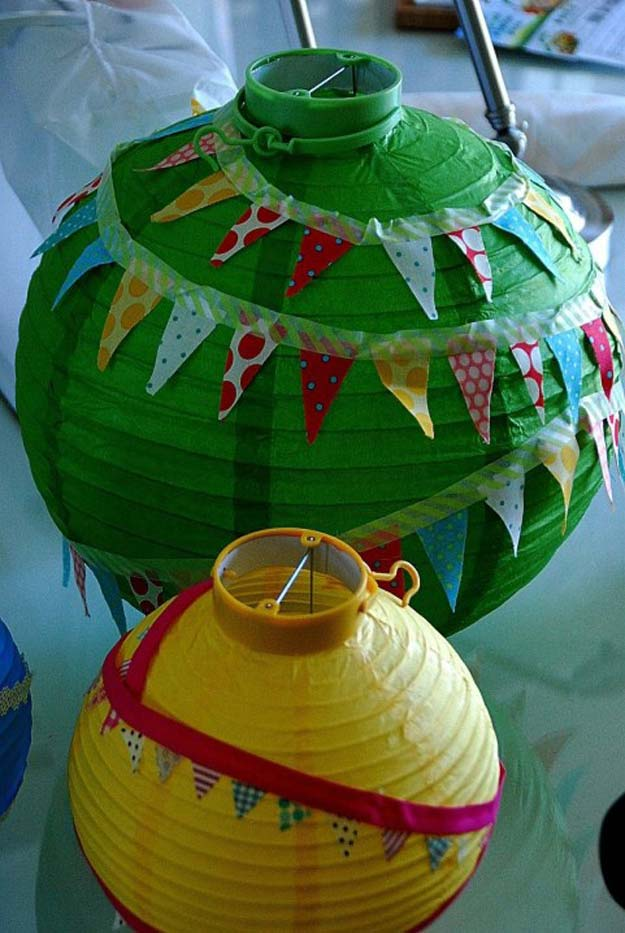 Washi Tape Crafts - Washi Tape Birthday Lanterns - DIY Projects Made With Washi Tape - Wall Art, Frames, Cards, Pencils, Room Decor and DIY Gifts, Back To School Supplies - Creative, Fun Craft Ideas for Teens, Tweens and Teenagers - Step by Step Tutorials and Instructions http://diyprojectsforteens.com/washi-tape-ideas