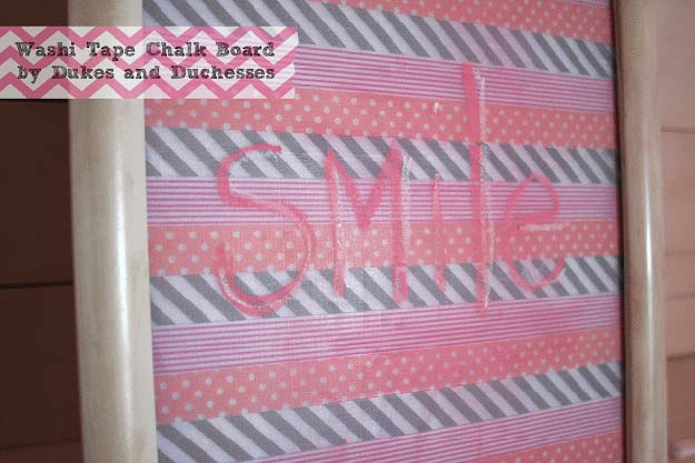 Washi Tape Crafts - Washi Tape Chalkboard - DIY Projects Made With Washi Tape - Wall Art, Frames, Cards, Pencils, Room Decor and DIY Gifts, Back To School Supplies - Creative, Fun Craft Ideas for Teens, Tweens and Teenagers - Step by Step Tutorials and Instructions http://diyprojectsforteens.com/washi-tape-ideas