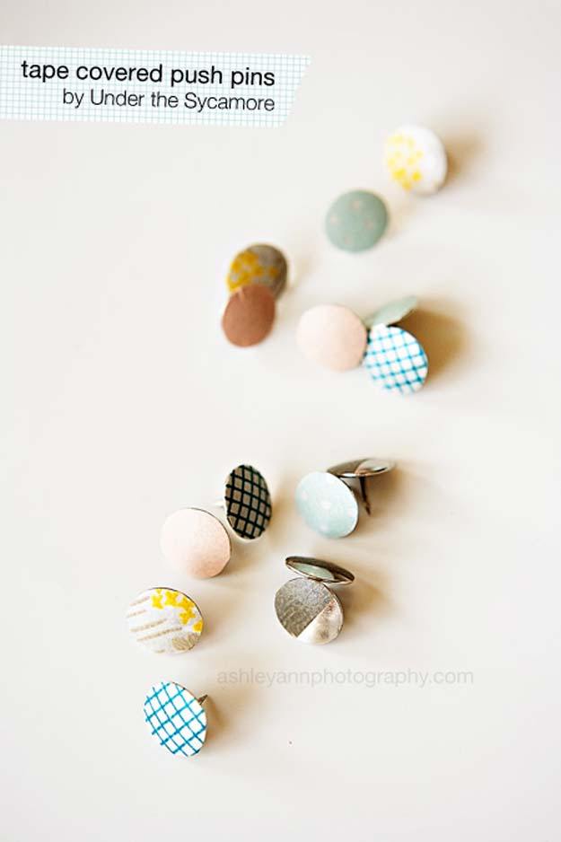 Washi Tape Crafts - Washi Tape Covered Push Pins - DIY Projects Made With Washi Tape - Wall Art, Frames, Cards, Pencils, Room Decor and DIY Gifts, Back To School Supplies - Creative, Fun Craft Ideas for Teens, Tweens and Teenagers - Step by Step Tutorials and Instructions