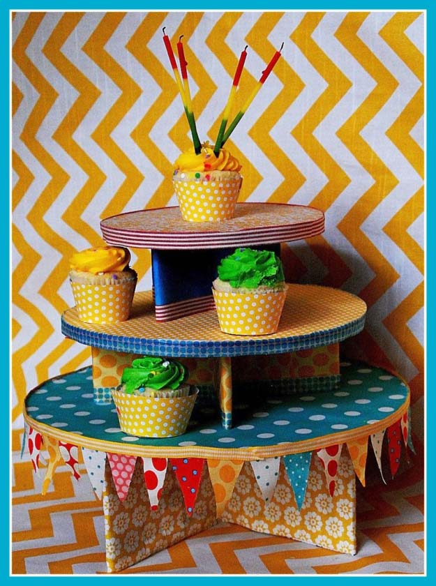 Washi Tape Crafts - Washi Tape Cupcake Tower - DIY Projects Made With Washi Tape - Wall Art, Frames, Cards, Pencils, Room Decor and DIY Gifts, Back To School Supplies - Creative, Fun Craft Ideas for Teens, Tweens and Teenagers - Step by Step Tutorials and Instructions http://diyprojectsforteens.com/washi-tape-ideas