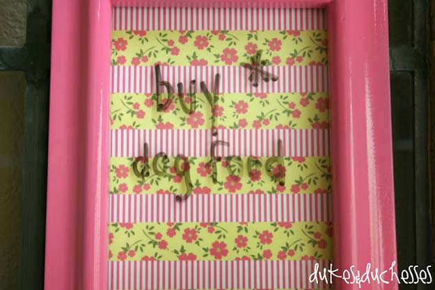 Washi Tape Crafts - Washi Tape Dry Erase Board - DIY Projects Made With Washi Tape - Wall Art, Frames, Cards, Pencils, Room Decor and DIY Gifts, Back To School Supplies - Creative, Fun Craft Ideas for Teens, Tweens and Teenagers - Step by Step Tutorials and Instructions http://diyprojectsforteens.com/washi-tape-ideas
