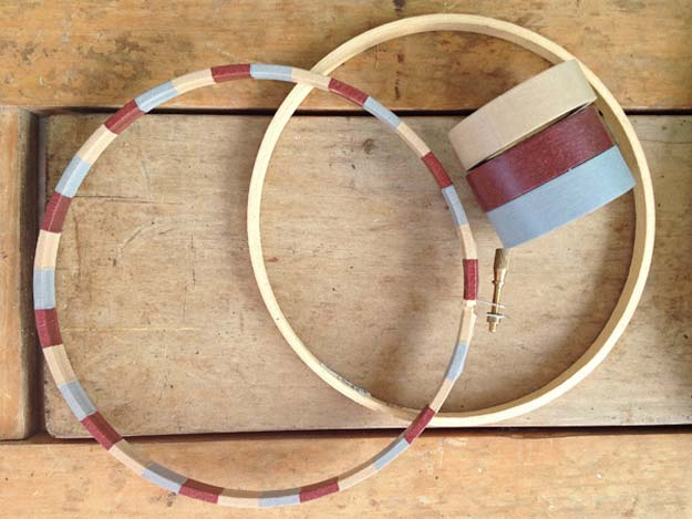 Washi Tape Crafts - Washi Tape Embroider Hoop - DIY Projects Made With Washi Tape - Wall Art, Frames, Cards, Pencils, Room Decor and DIY Gifts, Back To School Supplies - Creative, Fun Craft Ideas for Teens, Tweens and Teenagers - Step by Step Tutorials and Instructions