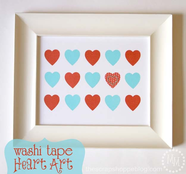 Washi Tape Crafts - Washi Tape Heart Art - DIY Projects Made With Washi Tape - Wall Art, Frames, Cards, Pencils, Room Decor and DIY Gifts, Back To School Supplies - Creative, Fun Craft Ideas for Teens, Tweens and Teenagers - Step by Step Tutorials and Instructions