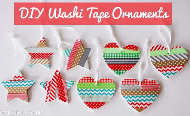 Washi Tape Crafts - Washi Tape Ornaments - DIY Projects Made With Washi Tape - Wall Art, Frames, Cards, Pencils, Room Decor and DIY Gifts, Back To School Supplies - Creative, Fun Craft Ideas for Teens, Tweens and Teenagers - Step by Step Tutorials and Instructions http://diyprojectsforteens.com/washi-tape-ideas