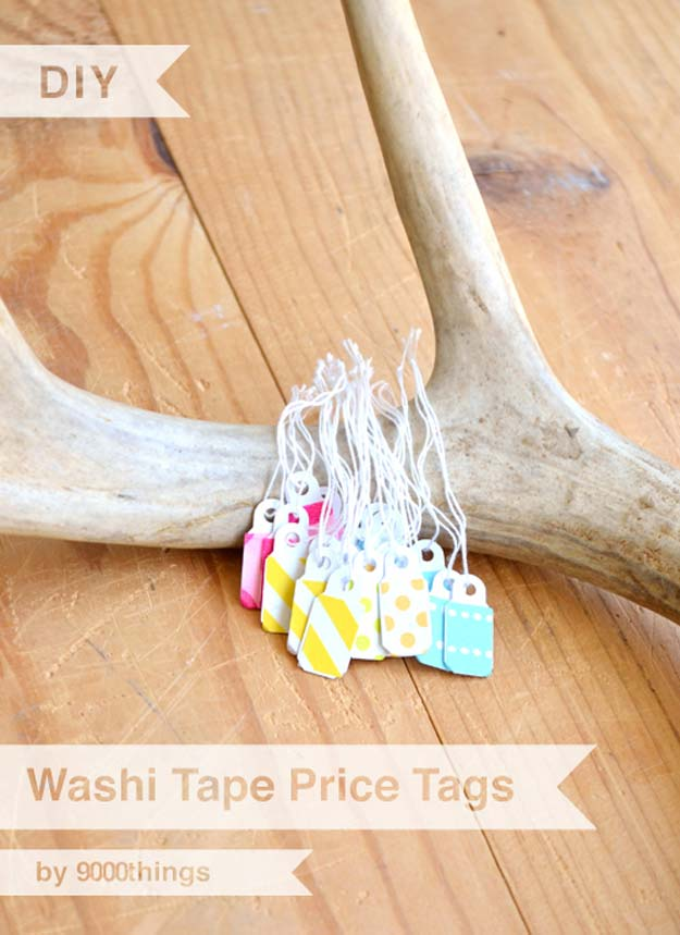 Washi Tape Crafts - Washi Tape Price Tag Tutorial - DIY Projects Made With Washi Tape - Wall Art, Frames, Cards, Pencils, Room Decor and DIY Gifts, Back To School Supplies - Creative, Fun Craft Ideas for Teens, Tweens and Teenagers - Step by Step Tutorials and Instructions http://diyprojectsforteens.com/washi-tape-ideas