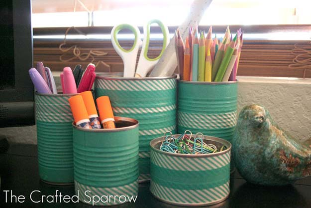 Washi Tape Crafts - Washi Tape Tin Cans - DIY Projects Made With Washi Tape - Wall Art, Frames, Cards, Pencils, Room Decor and DIY Gifts, Back To School Supplies - Creative, Fun Craft Ideas for Teens, Tweens and Teenagers - Step by Step Tutorials and Instructions http://diyprojectsforteens.com/washi-tape-ideas