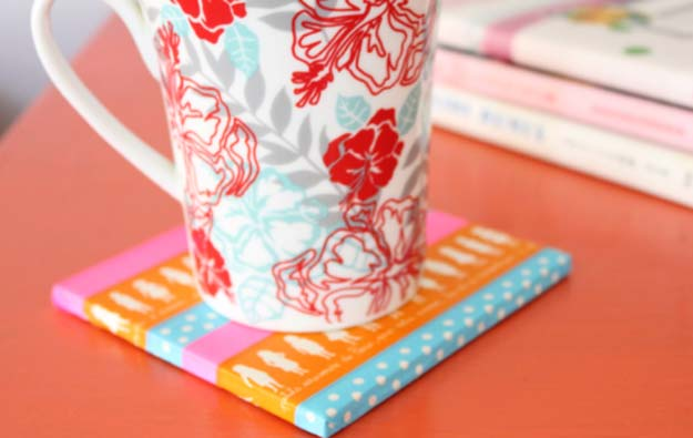 Washi Tape Crafts - Washi Tape Trivet - DIY Projects Made With Washi Tape - Wall Art, Frames, Cards, Pencils, Room Decor and DIY Gifts, Back To School Supplies - Creative, Fun Craft Ideas for Teens, Tweens and Teenagers - Step by Step Tutorials and Instructions http://diyprojectsforteens.com/washi-tape-ideas