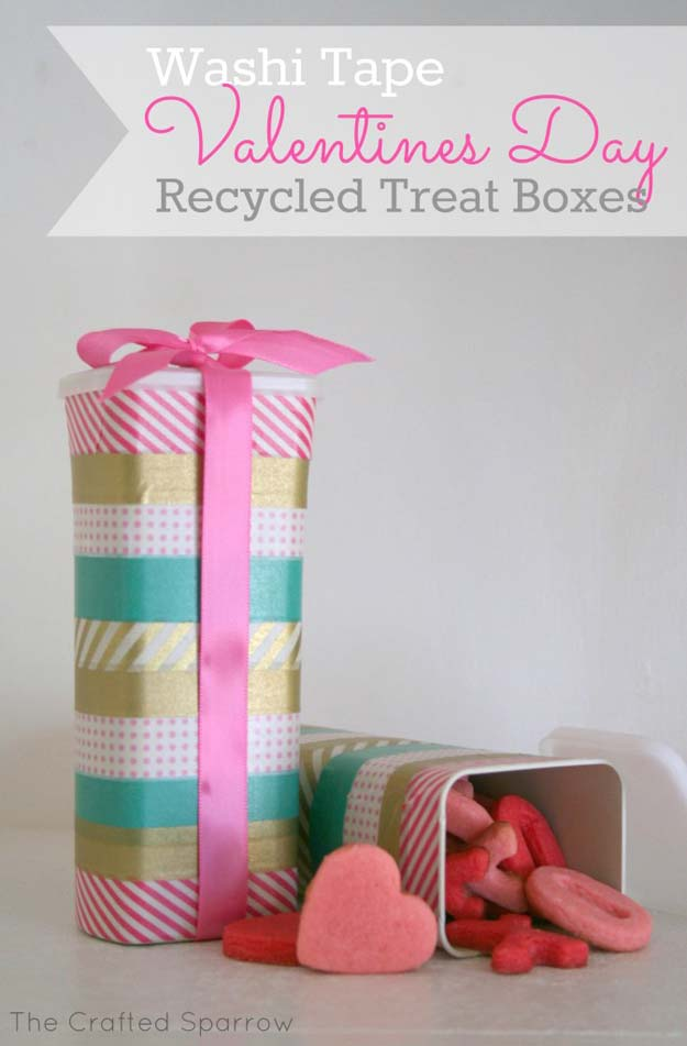 Washi Tape Crafts - Washi Tape Valentine's Day Recycled Treat Box - DIY Projects Made With Washi Tape - Wall Art, Frames, Cards, Pencils, Room Decor and DIY Gifts, Back To School Supplies - Creative, Fun Craft Ideas for Teens, Tweens and Teenagers - Step by Step Tutorials and Instructions