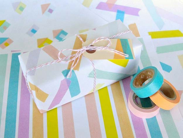 Washi Tape Crafts - Washi Tape Wrapping Paper - DIY Projects Made With Washi Tape - Wall Art, Frames, Cards, Pencils, Room Decor and DIY Gifts, Back To School Supplies - Creative, Fun Craft Ideas for Teens, Tweens and Teenagers - Step by Step Tutorials and Instructions http://diyprojectsforteens.com/washi-tape-ideas