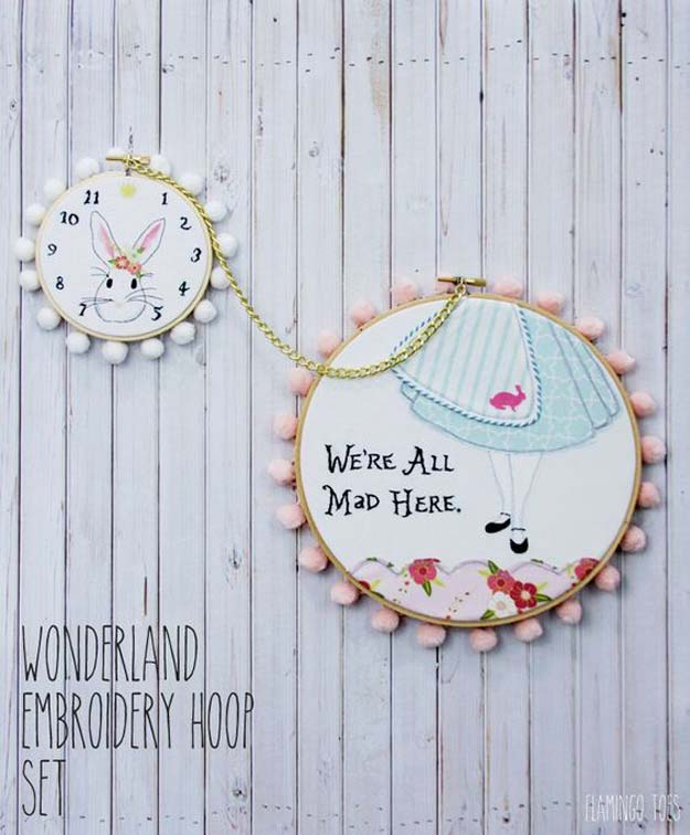 Cool Embroidery Projects for Teens - Step by Step Embroidery Tutorials - Wonderland Embroidery Hoop Set - Awesome Embroidery Projects for Teenagers - Cool Embroidery Crafts for Girls - Creative Embroidery Designs - Best Embroidery Wall Art, Room Decor - Great Embroidery Gifts, Free Embroidery Patterns for Girls, Women and Tweens http://diyprojectsforteens.com/cool-embroidery-projects-teens
