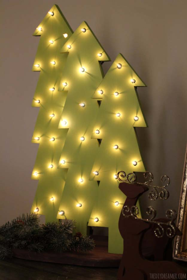 cool ways to use christmas lights wooden christmas tree with lights best easy diy - Best Way To String Lights On A Christmas Tree