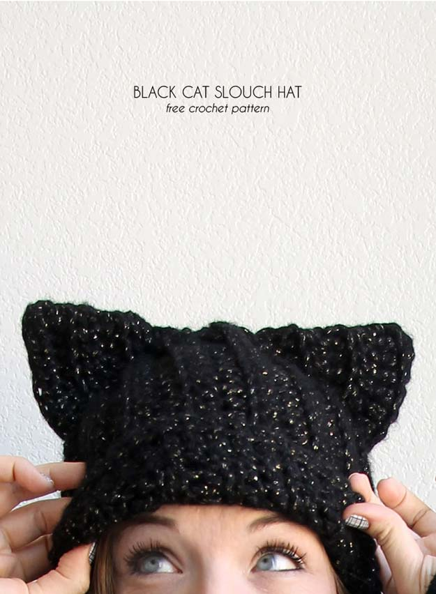 Crochet Patterns and Projects for Teens - Black Cat Slouch Hat - Best Free Patterns and Tutorials for Crocheting Cute DIY Gifts, Room Decor and Accessories - How To for Beginners - Learn How To Make a Headband, Scarf, Hat, Animals and Clothes DIY Projects and Crafts for Teenagers #crochet #crafts #teencrafts #freecrochet #crochetpatterns