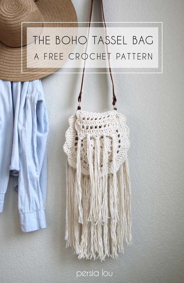 Crochet Patterns and Projects for Teens - Boho Tassel Crochet Bag - Best Free Patterns and Tutorials for Crocheting Cute DIY Gifts, Room Decor and Accessories - How To for Beginners - Learn How To Make a Headband, Scarf, Hat, Animals and Clothes DIY Projects and Crafts for Teenagers #crochet #crafts #teencrafts #freecrochet #crochetpatterns