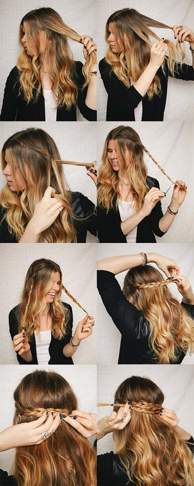 Best Hair Braiding Tutorials - Half-Up Braided Crown - Easy Step by Step Tutorials for Braids - How To Braid Fishtail, French Braids, Flower Crown, Side Braids, Cornrows, Updos - Cool Braided Hairstyles for Girls, Teens and Women - School, Day and Evening, Boho, Casual and Formal Looks http://diyprojectsforteens.com/hair-braiding-tutorials