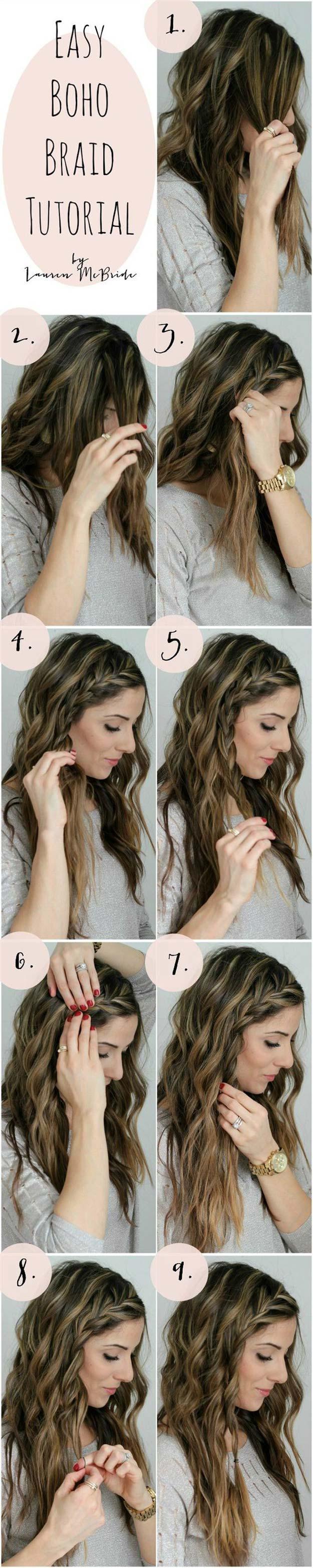 Best Hair Braiding Tutorials - Easy Boho Braid Tutorial - Easy Step by Step Tutorials for Braids - How To Braid Fishtail, French Braids, Flower Crown, Side Braids, Cornrows, Updos - Cool Braided Hairstyles for Girls, Teens and Women - School, Day and Evening, Boho, Casual and Formal Looks #hairstyles #braiding #braidingtutorials #diyhair