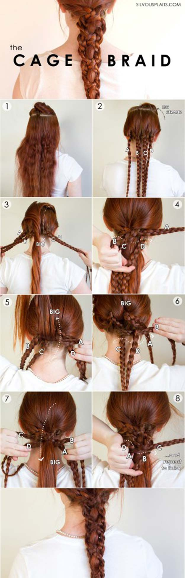 Best Hair Braiding Tutorials - Five Strand Cage Braid - Easy Step by Step Tutorials for Braids - How To Braid Fishtail, French Braids, Flower Crown, Side Braids, Cornrows, Updos - Cool Braided Hairstyles for Girls, Teens and Women - School, Day and Evening, Boho, Casual and Formal Looks #hairstyles #braiding #braidingtutorials #diyhair