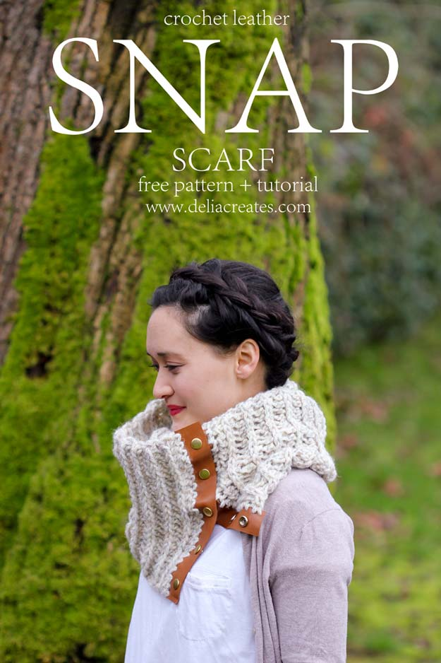 Crochet Patterns and Projects for Teens - Crochet Leather Snap Scarf - Best Free Patterns and Tutorials for Crocheting Cute DIY Gifts, Room Decor and Accessories - How To for Beginners - Learn How To Make a Headband, Scarf, Hat, Animals and Clothes DIY Projects and Crafts for Teenagers #crochet #crafts #teencrafts #freecrochet #crochetpatterns