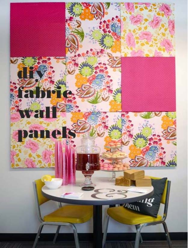 Pink DIY Room Decor Ideas - DIY Fabric Wall Panels - Cool Pink Bedroom Crafts and Projects for Teens, Girls, Teenagers and Adults - Best Wall Art Ideas, Room Decorating Project Tutorials, Rugs, Lighting and Lamps, Bed Decor and Pillows http://diyprojectsforteens.com/diy-bedroom-ideas-pink