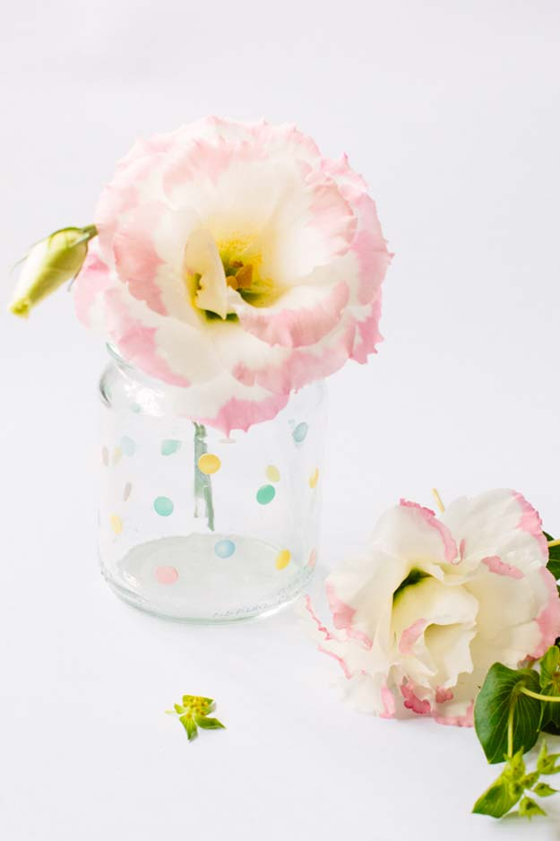DIY Crafts Using Nail Polish - Dotted Mason Jar Vase - Fun, Cool, Easy and Cheap Craft Ideas for Girls, Teens, Tweens and Adults | Wire Flowers, Glue Gun Craft Projects and Jewelry Made From nailpolish - Water Marble Tutorials and How To With Step by Step Instructions http://diyprojectsforteens.com/best-nail-polish-crafts