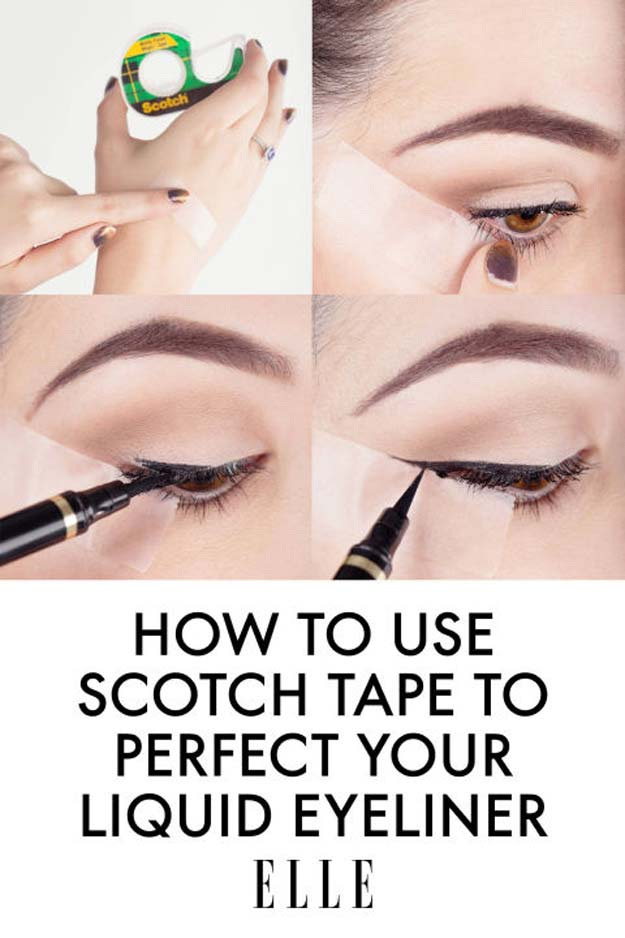 Best Beauty Hacks - yeliner Tape Trick - Easy Makeup Tutorials and Makeup Ideas for Teens, Beginners, Women, Teenagers - Cool Tips and Tricks for Mascara, Lipstick, Foundation, Hair, Blush, Eyeshadow, Eyebrows and Eyes - Step by Step Tutorials and How To #beautyhacks #beautyideas #makeuptutorial #makeuphakcs #makeup #hair #teens