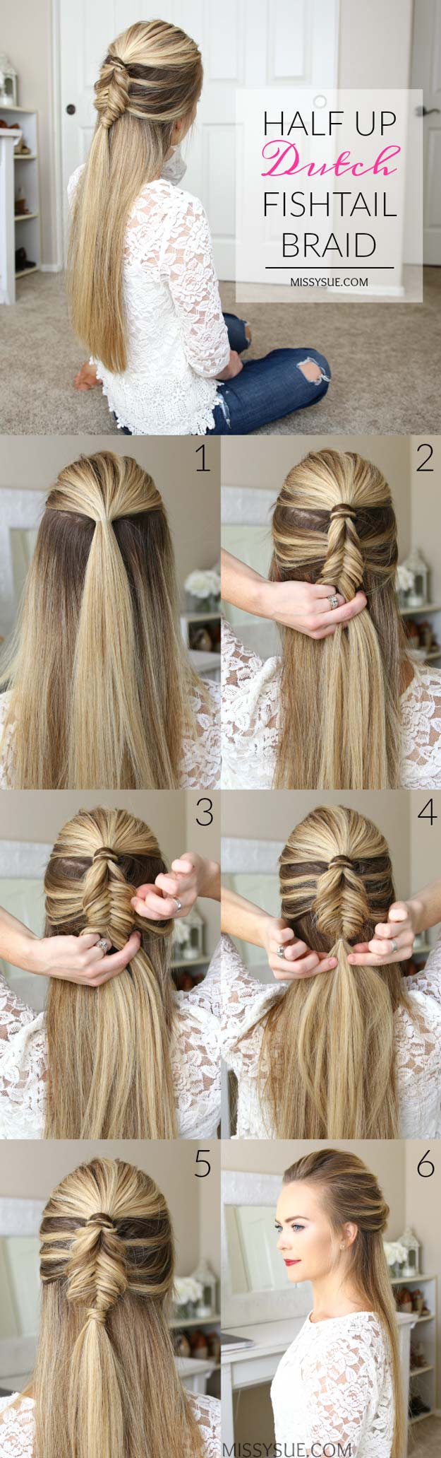Best Hair Braiding Tutorials - Half Up Dutch Fishtail Braid - Easy Step by Step Tutorials for Braids - How To Braid Fishtail, French Braids, Flower Crown, Side Braids, Cornrows, Updos - Cool Braided Hairstyles for Girls, Teens and Women - School, Day and Evening, Boho, Casual and Formal Looks http://diyprojectsforteens.com/hair-braiding-tutorials