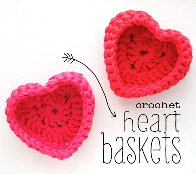 Crochet Patterns and Projects for Teens - Heart Storage Basket Crocheting Tutorial - Best Free Patterns and Tutorials for Crocheting Cute DIY Gifts, Room Decor and Accessories - How To for Beginners - Learn How To Make a Headband, Scarf, Hat, Animals and Clothes DIY Projects and Crafts for Teenagers #crochet #crafts #teencrafts #freecrochet #crochetpatterns