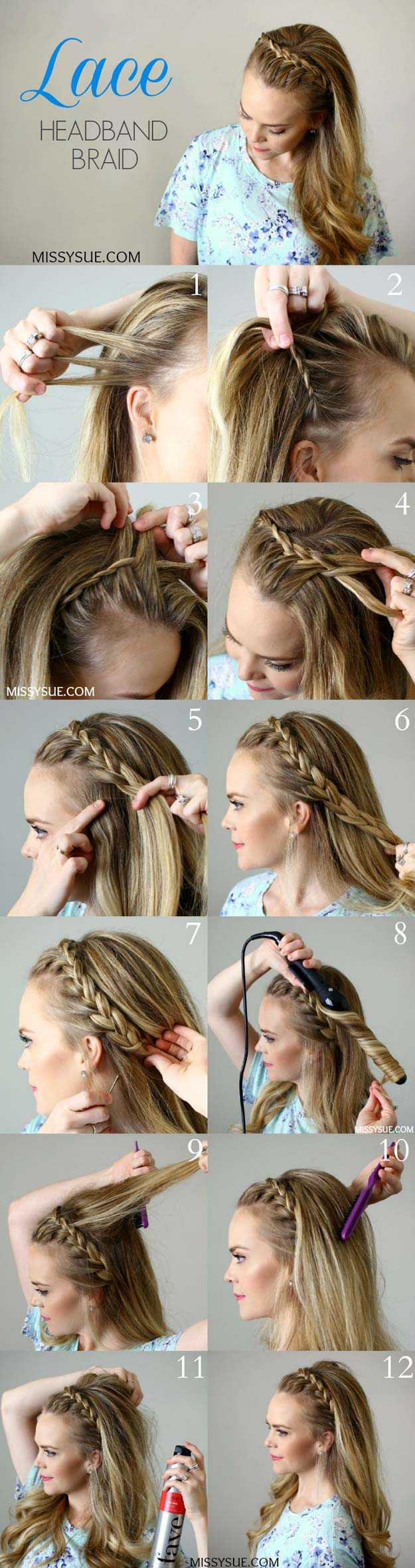 Best Hair Braiding Tutorials - Lace Headband Braid - Easy Step by Step Tutorials for Braids - How To Braid Fishtail, French Braids, Flower Crown, Side Braids, Cornrows, Updos - Cool Braided Hairstyles for Girls, Teens and Women - School, Day and Evening, Boho, Casual and Formal Looks #hairstyles #braiding #braidingtutorials #diyhair