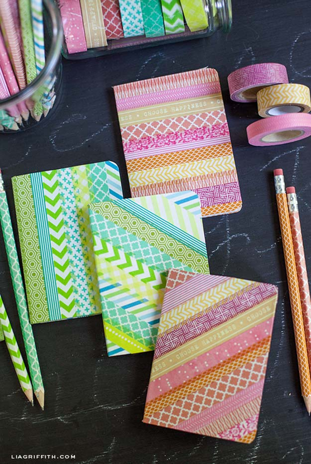 Washi Tape Crafts - Washi Tape Your Pencils and Notebook - DIY Projects Made With Washi Tape - Wall Art, Frames, Cards, Pencils, Room Decor and DIY Gifts, Back To School Supplies - Creative, Fun Craft Ideas for Teens, Tweens and Teenagers - Step by Step Tutorials and Instructions http://diyprojectsforteens.com/washi-tape-ideas