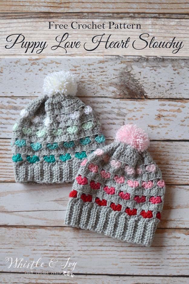 Crochet Patterns and Projects for Teens - Puppy Love Heart Slouchy - Best Free Patterns and Tutorials for Crocheting Cute DIY Gifts, Room Decor and Accessories - How To for Beginners - Learn How To Make a Headband, Scarf, Hat, Animals and Clothes DIY Projects and Crafts for Teenagers http://diyprojectsforteens.com/crochet-patterns-free