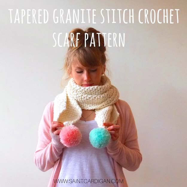 Crochet Patterns and Projects for Teens - Tapered Granite Stitch Crochet Scarf - Best Free Patterns and Tutorials for Crocheting Cute DIY Gifts, Room Decor and Accessories - How To for Beginners - Learn How To Make a Headband, Scarf, Hat, Animals and Clothes DIY Projects and Crafts for Teenagers #crochet #crafts #teencrafts #freecrochet #crochetpatterns
