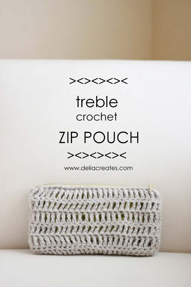 Crochet Patterns and Projects for Teens - Treble Crochet Zip Pouch - Best Free Patterns and Tutorials for Crocheting Cute DIY Gifts, Room Decor and Accessories - How To for Beginners - Learn How To Make a Headband, Scarf, Hat, Animals and Clothes DIY Projects and Crafts for Teenagers #crochet #crafts #teencrafts #freecrochet #crochetpatterns