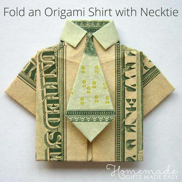 DIY Money Origami - Money Origami Shirt and Tie - Step by Step Tutorials for Star, Flower, Heart, Buttlerfly, Animals. Tree, Letters, Bow and Boxes - Cute DIY Gift Ideas for Birthday and Christmas Cards - DIY Projects and Crafts for Teens http://diyprojectsforteens.com/diy-money-origami