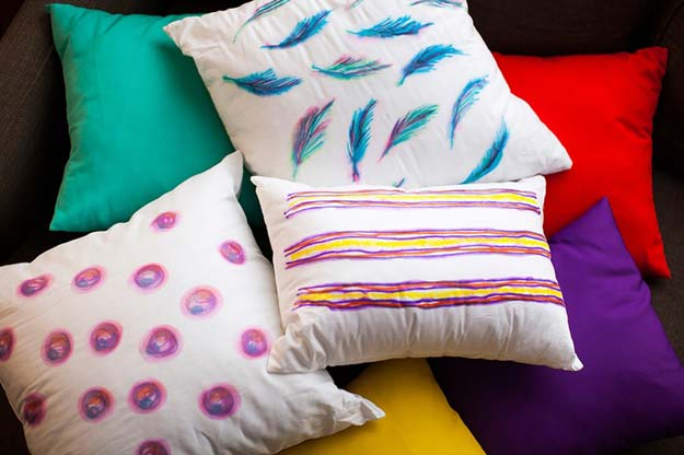 Cool DIY Ideas for Your Bed - Watercolor-Inspired Throw Pillows - Fun Bedding, Pillows, Blankets, Home Decor and Crafts to Make Your Bedroom Awesome - Easy Step by Step Tutorials for Making A T-Shirt Pillow, Knit Throws, Fuzzy and Furry Warm Blankets and Handmade DYI Bedding, Sheets, Bedskirts and Shams